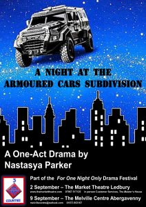 One act play poster: A Night at the Armoured Cars Subdivision