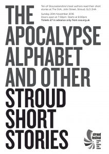 Event poster for The Apocalypse Alphabet and Other Stroud Short Stories