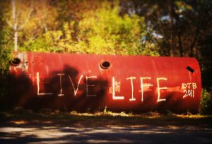 "Graffiti on oil tank: ""Live life."""