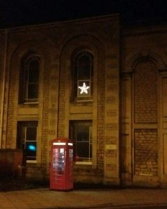 Church and phone booth