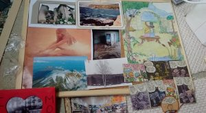 Noticeboard with assorted images for inspiration.