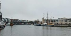 Bristol Harbour: multi-coloured terraced houses, Lloyds Bank crescent, old sailing ship