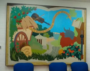 Mural of the countryside, inspired by Cider With Rosie