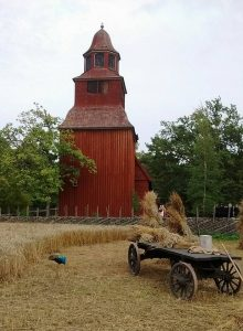Wheatfield and old church