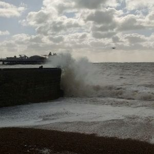 Waves breaking on Brighton Harbour