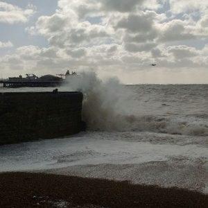 Waves breaking on Brighton Harbour