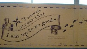Quote from the Marauders Map on the walls of the studio entryway.