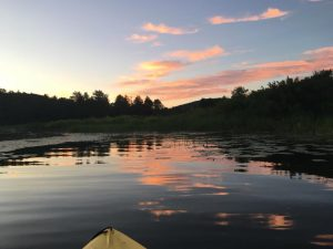 Paddling toward the sunset on our favourite lake.