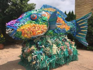 Big fish made of plastic waste