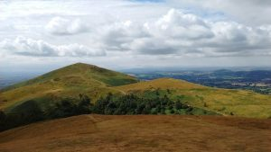 Trails crossing and winding around the Malvern Hills