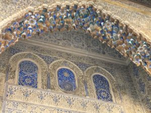 Tiles and mosaics in a moorish arch.